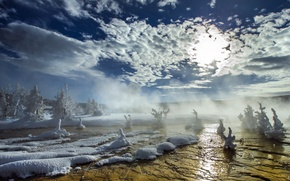 Picture snow, landscape, nature, fog, river, morning