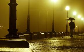 Wallpaper lights, people, the evening, loneliness, promenade, rain