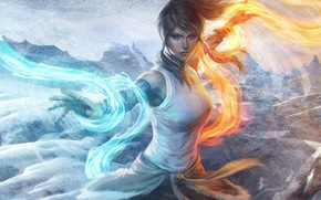 Picture water, girl, mountains, fire, element, magic, art, avatar, times, the legend of korra