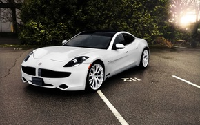 Picture white, Parking, supercar, car, the fisker karma, Fisker