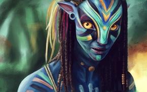 Picture Avatar, Neytiri, art, Zoe Saldana, James Cameron