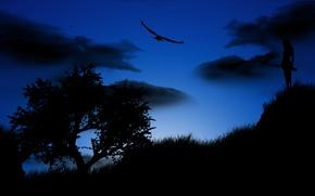 Picture girl, night, tree, bird, eagle, silhouette, the gun