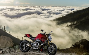 Picture red, Ducati, Monster, moto, bike, mountains, clouds, Legend, classic