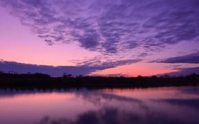 Wallpaper the sky, water, clouds, trees, sunset, surface, reflection, the evening, Lake, lilac, raspberry