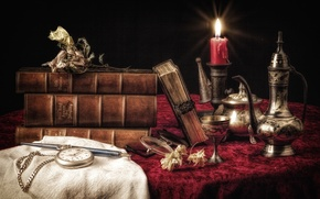 Picture watch, books, candle, dishes, still life
