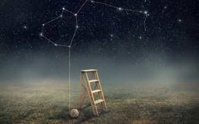 Picture the sky, stars, ladder, thread