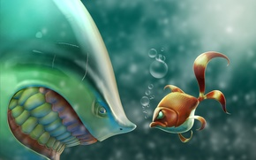 Picture shark, art, the situation, fish, bubbles, sea, fish, anger, gold