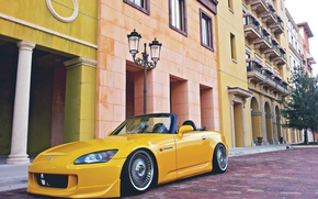 Picture the city, Yellow, Convertible, Honda, S2000