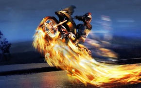Picture road, night, fire, flame, people, Speed, adrenaline