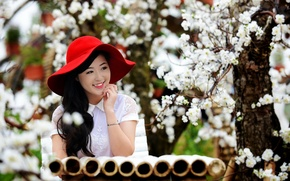 Picture girl, hat, Asian