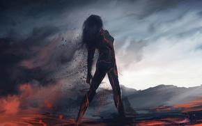 Picture girl, ash, fiction, smoke, silhouette, art, lava
