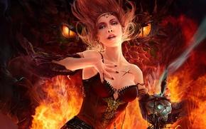Picture dragon, skull, Fire