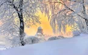 Picture winter, Saint Petersburg, temple, Russia, fluffy snow, the January sky