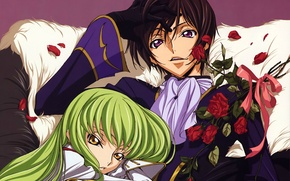 Picture bouquet, two, green hair, art, code geass, code geass, c.c., takahiro himura, lelouche lamperouge