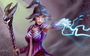 Picture look, magic, art, hair, tail, girl, staff, fiction