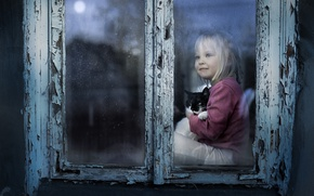 Picture cat, mood, window, girl, kitty