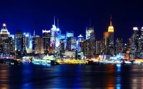 Picture night, lights, new York, night, new york, usa, Manhattan