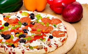 Picture olives, pepper, pizza, delicious, sausage, food, food, mushrooms, bow
