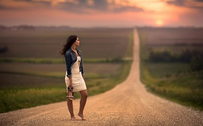 Picture road, dress, space, waiting, bokeh, barefoot girl