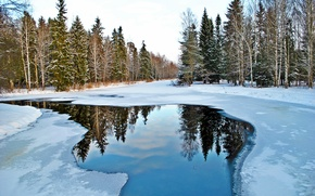 Picture water, snow, nature, reflection, Gatchina