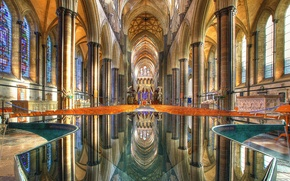 Picture reflection, Cathedral, columns, temple, stained glass, the Church