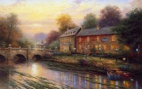 Wallpaper bridge, boats, lights, house, river, thomas kinkade