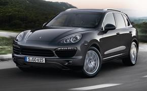 Picture Road, Porsche, Machine, Grey, Movement, Machine, Car, Porsche, Car, Cars, Cayenne, Cars, Road, Diesel, Diesel, …