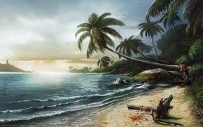 Picture sea, landscape, palm trees, coast, Dead Island