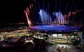 Picture salute, fireworks, Brazil, Rio de Janeiro, stadium, Maracanã