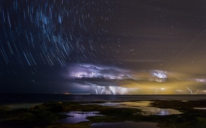 Picture sea, the sky, water, light, night, clouds, storm, the city, the ocean, zipper, Bay, stars, …