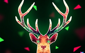 Picture line, triangles, deer, angle, geometry, art, Deer, Crystallized, by Asterii, abstract animals