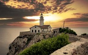 Picture sea, the sky, clouds, sunset, rock, coast, lighthouse, dal, horizon, Spain, Mallorca, Cala Ratjada