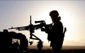 Wallpaper machine gun, soldiers, us army, silhouette, sunset