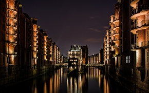 Picture water, night, reflection, castle, lighting, Hamburg, ditch