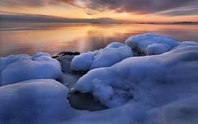 Picture winter, sunrise, ice, Sweden, Sweden, Uppland, Grisslehamn