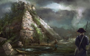 Picture art, painting, concept art, ancient, Pyramid