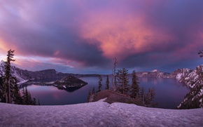 Picture winter, snow, sunset, island, Lake, USA, crater, Oregon, Crater Lake, Crater Lake National Park