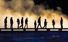 Picture people, silhouette, Wyoming, USA, the bridge, Yellowstone National Park
