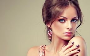 Picture eyes, look, girl, smile, makeup, blue, manicure