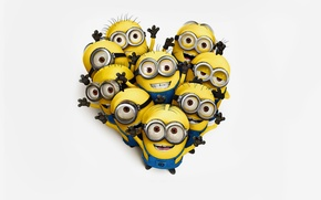 Picture yellow, white background, Minions, Despicable me, Despicable Me