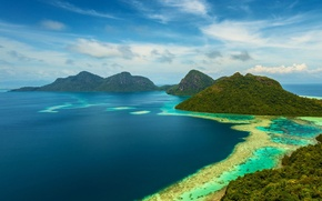 Picture sea, Islands, Malaysia, Tun Antler Of The Marine Park