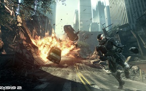 Picture the explosion, weapons, fighter, nanosuit, crysis 2