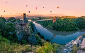 Picture forest, the sky, trees, bridge, balloon, river, rocks