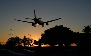 Picture city, Sunset, The sun, The sky, The city, Trees, Summer, Street, Airport, Machine, Boeing, Sky, …