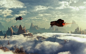 Picture the sky, clouds, rocks, planet, flight, spaceship