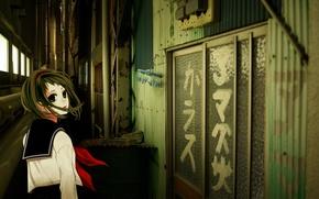 Picture girl, the door, vocaloid, Vocaloid, Gumi