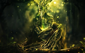 Picture greens, grass, roots, house, tree, sparks, plexus, desktopography