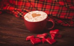 Picture coffee, heart, candy, Cup, hearts, red, red, cappuccino, napkin