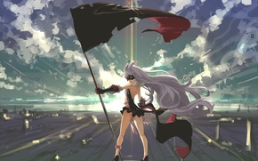 Wallpaper flag, venera-sama, the sky, light, art, smile, anime, girl, clouds, mask, sunset, sekai seifuku, Kate ...