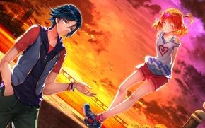 Picture sunset, anime, art, girl, guy, macross delta